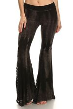 NEW T-Party BLACK Yoga Pants Foldover Waist Lace Flare Bell Bottom Tie Dye S M L