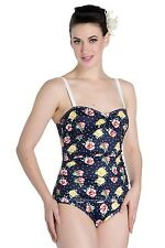 Hell Bunny Navy Emma Floral 50s Retro Vintage Pin Up Beach One Piece Swimsuit