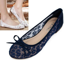 New Ladies Lace Floral Flat Pumps Ballet Ballerina Dolly Bridal Mesh Party Shoes