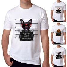 2017 Funny Bad Dog T shirts White T-shirts Soft Mens Short Sleeve Casual Top Tee