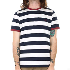 Fred Perry Striped Ringer Tee - Carbon Blue