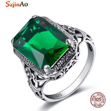 Emerald 925 Sterling Silver Victorian Style Filigree Ring Jewelry May birthstone