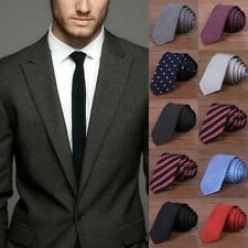Men Casual Solid Plain Classic Striped Tie Jacquard Woven 100% Silk Slim Necktie