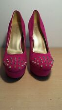 Pink Faux Suede Spike Toe High Heel Platform Shoes Size 7 - NEW, BOXED