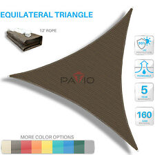 Sun Shade Sail Brown Triangle UV Block Outdoor Canopy Patio Lawn Pool Deck Cover