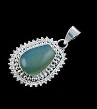 Natural AAA Seafoam Chalcedony Cabochon Gemstone 925 Sterling Silver Pendant