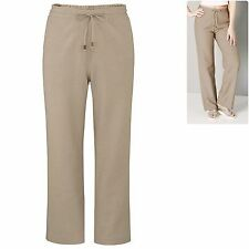 Capsule plus size 22 28 Cotton Linen Blend Wide Leg Trousers Stone Marisota New