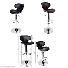 2 x Bar Stools Kitchen Barstool PU Leather Dining Chair Gas Lift Black Chocolate