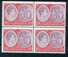 St Kitts Nevis 1938-50 3d purp and bright scarlet  fresh MNH block of 4 SG73d