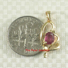 14k Yellow Solid Gold Heart Design Prong Setting Genuine Oval Ruby Pendant TPJ