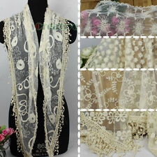 Women Fashion Embroidery Tulle Lace Tassel Mantilla Cozy Triangle Scarf Shawl