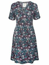 Mistral Dress 10 Cotton Jersey Floral Print Mock Wrap Crossover Top Knee Length