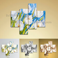 Large Floral Painting Flower Picture Abstract Living Room 4 Pieces Art Print