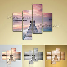 Large Pier Sunrise Painting Contemporary Oil Living Room Four Pieces Print