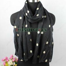 Women Elegent Art Style Line Embroidery Dot 2Layer Oblong Shawl Lady Scarf Wrap