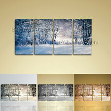 Landscape Winter Forest Tree Abstract Floral Painting Print On Canvas Wall Art