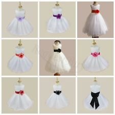 Girls Kids Sash Formal Wedding Bridesmaid Party Christening Dress For Age 2-14Y