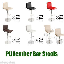 2 x PU Leather Bar Stools Kitchen Chair Dining Home Gas Lift Barstools 5 Colors