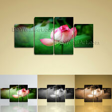 Large Floral Print Water Lily Hd Wall Art Dining Room Four Panels Canvas
