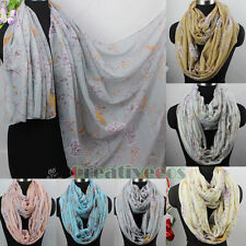Fashion Women's Flower Birds Branch Viscose Long Scarf/Infinity 2Loop Cowl Scarf