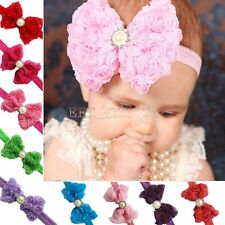 Baby Kids Girls Rose Flower Lace Bow Pearl Headband Toddler Hairband Headdress