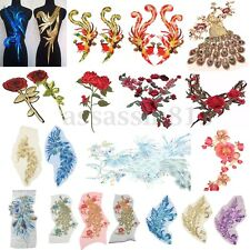 Lace Embroidered Sequins Peacock Collar Trim Clothes Dress Sewing Applique Patch