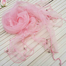 Fashion Women Charm Organza Nation Style Beads Tassel Scarf Shawl Wrap Stole