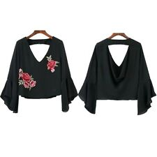 Chiffon Casual V Neck Short Fashion Blouse Summer Ruffle Embroidery Blouse