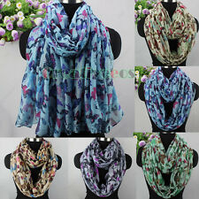 Women Fashion Butterfly&Insect Animal Print Long Scarf Wrap Shawl/Infinity Scarf