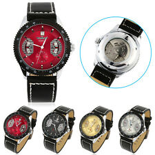 New Men's Casual Black Leather Date Automatic Mechanical Sport Army Wrist Watch