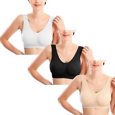 NON-PADDED WOMENS LADIES SEAMLESS BRA SPORTS LEISURE CROP TOP VEST COMFORT S-3XL