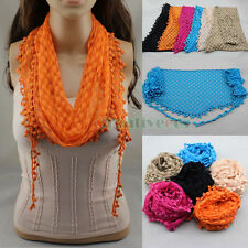 Women Embroidery Lace Crochet Oval Triangle Mantilla Scarf Shawl Wrap Tassel