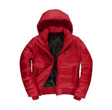 Womens Red B&C Superhood Padded Quilted Bomber Puffa Jacket Outdoor Winter Coat