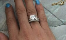 1.55 Ct princess cut CZ Solid 925 Sterling Silver Wedding Engagement Ring 2 Pcs