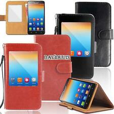 window view Flip Leather Wallet Stand Cover Case For Various Lenovo SmartPhones