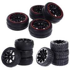 RC 4pcs 64mm Plastic Wheel Rim Rubber Tyres Tires for 1/10 On Road RC Car Truck