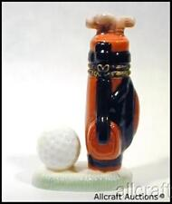 GOLF CLUBS & BALL Porcelain Trinket Box PHB Golfer Ball