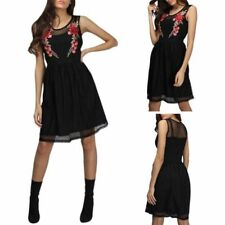 Womens Mesh Embroidered Floral Dress Party Evenning Sleeveless Midi Dress Sexy