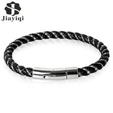 Jiayiqi 2017 Punk Black Braided Leather Bracelet Magnetic Buckle Simple Style Fa