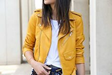 GENUINE ZARA YELLOW BLUE  FAUX LEATHER BIKER JACKET COAT BLAZER XS M