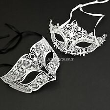White Venetian Metal Laser Cut Masquerade Prom Costume Party Mask