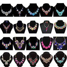 Fashion Charm Jewelry Crystal Necklace Chunky Statement Bib Pendant Choker Chain