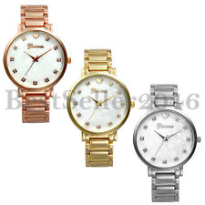 Luxury Mens Womens Rhinestone Dial Stainless Steel Quartz Analog Wrist Watch
