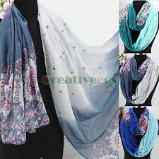 Fashion Women Floral Print Gradient Long Shawl/Infinity Scarf Ladies Scarves New