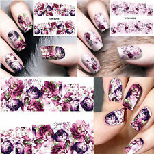 Nail Art Water Decals Stickers Transfers Violet Purple Flowers 2 Sheets