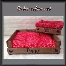 MEDIUM Rustic WOODEN PERSONALISED DOG, CAT BED & TOY BOX CRATE HANDMADE