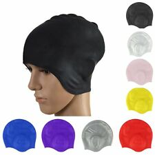 Adult Silicone Swimming Cap Sports Bathing Elastic Ear Protection Hat Waterproof