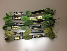 DMC 25 Mouline Special Cotton Embroidery Thread - Shades of Green