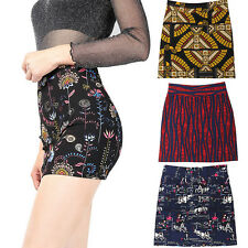 Ladies Bodycon Short Stretchy Printed Mini Womens Floral Tribe Penceil Skirt