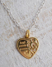 STERLING SILVER 925 GOLD PLATED BEST FRIENDS FOREVER HEART PENDANT NECKLACE 925